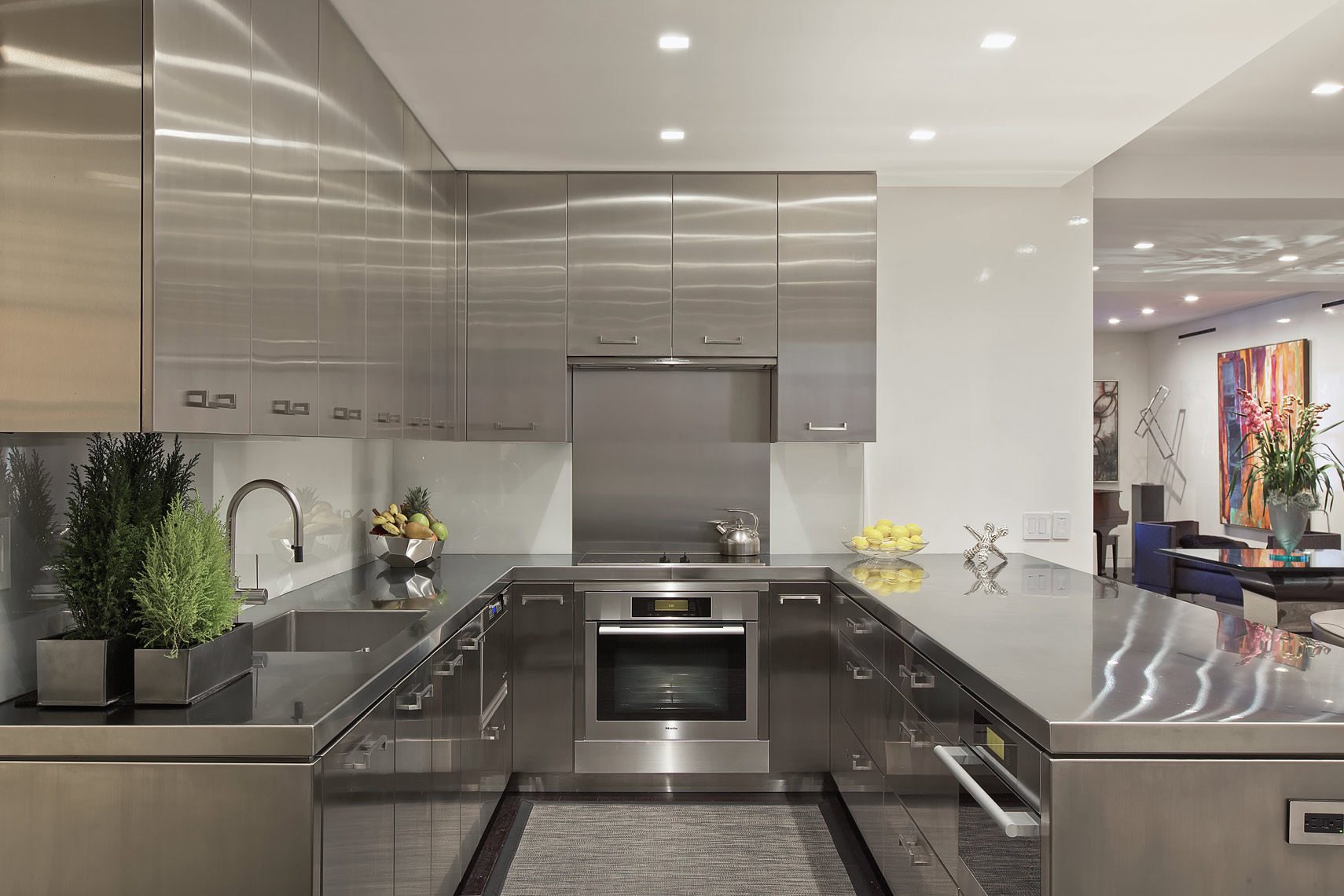 Interior Photography of stainless steel kitchen