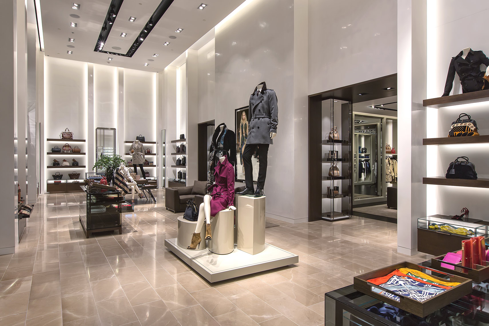 Photography of a Retail Interior and architectural design at Burberry. SGM Photography