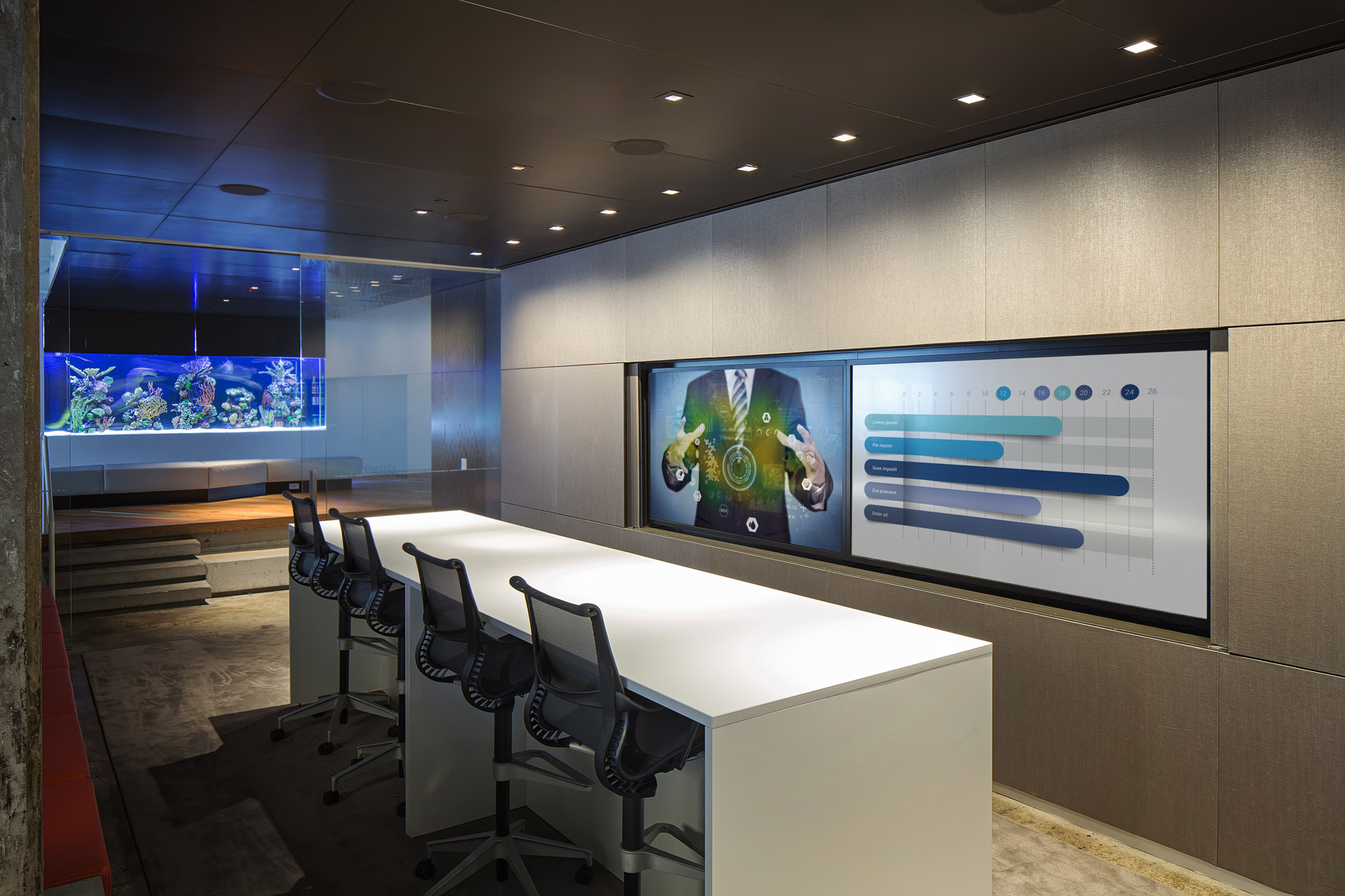 This media conference room has a modern way of getting informed at the workplace.  Corporate interior photographer ny