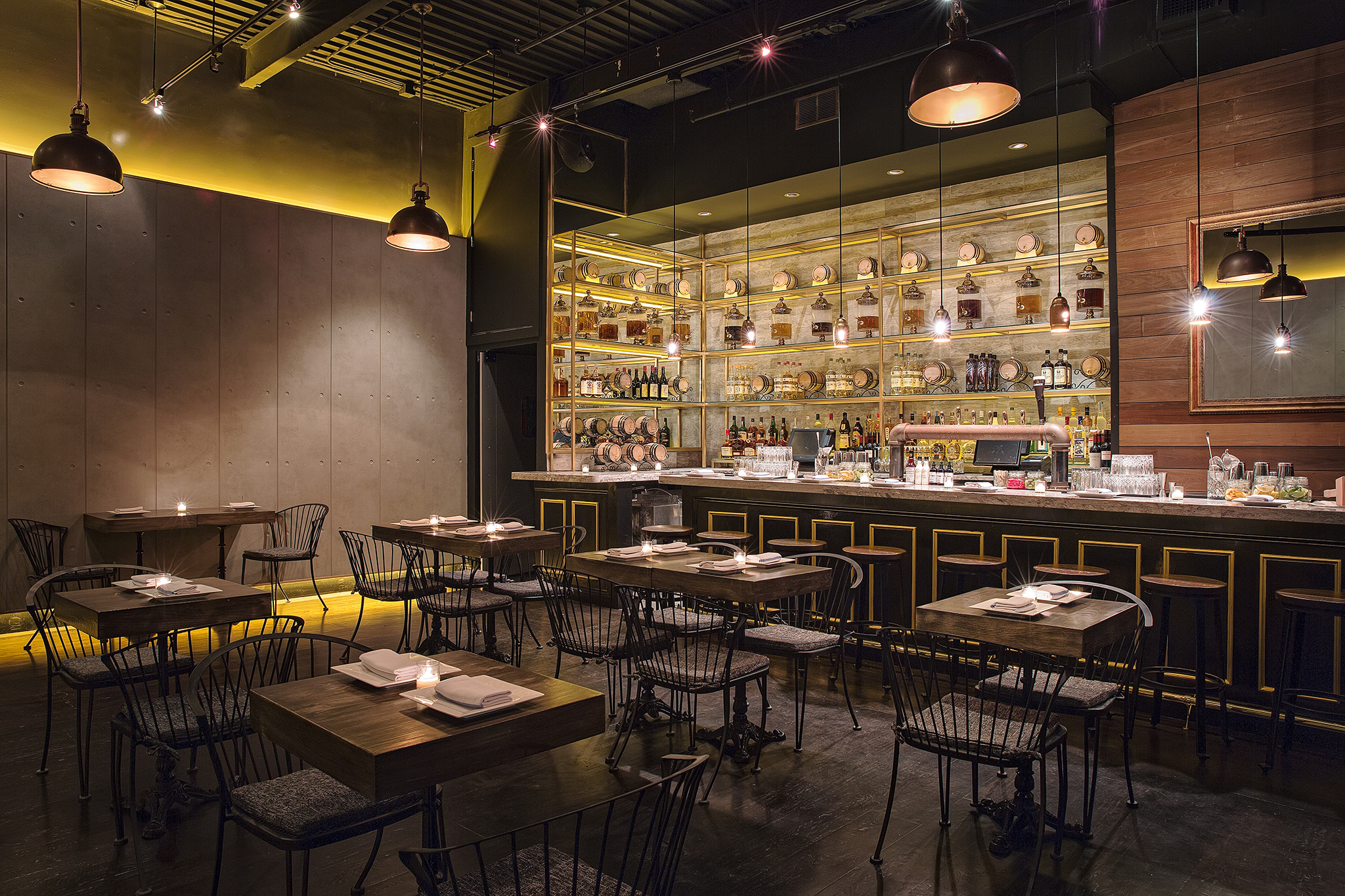 The Regal in Williamsburg is a small and cosy modern space for the locals to enjoy happy hour and more. Interior restaurant photographer NY. SGM Photography